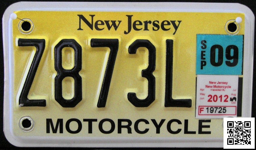 NJ Motorcyle License Plate